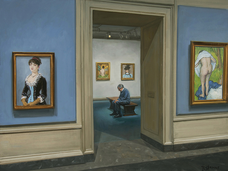 another time, interior painting, oil painting, pastel art, museum interior painting, figurative painting, National Gallery interior, people looking at art, The Touch of Color, pastels at the National Gallery of Art, Edouard Manet, William Merritt Chase, Edgar Degas, Mary Cassatt