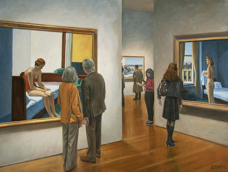 intimacy-isolation, interior paintings, oil painting, paintings of museum interiors, figurative painting, Virginia Museum of Fine Arts, Richmond, Virginia, Edward Hopper, Hopper, paintings by Edward Hopper, people looking at art, William Woodward, Katherine Neville