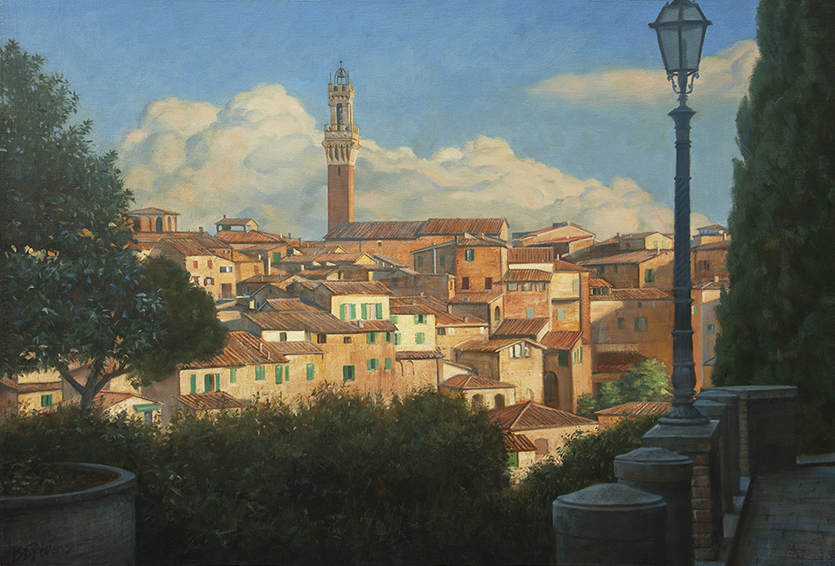 approach-to-siena, oil painting, Italian village painting, Italian hilltop village, view of Siena, tower of the Duomo di Siena, Siena cathedral
