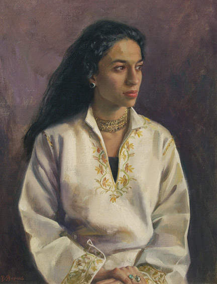 devyani, oil portrait, contemporary portrait, portrait of a young woman, informal portrait, portrait of a Sri Lankan woman