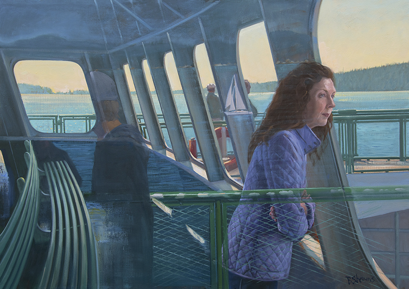 homebound, ferry painting, oil painting, figurative painting, Washington state ferries, san juan islands, orcas island, art of the Pacific Northwest, people painting