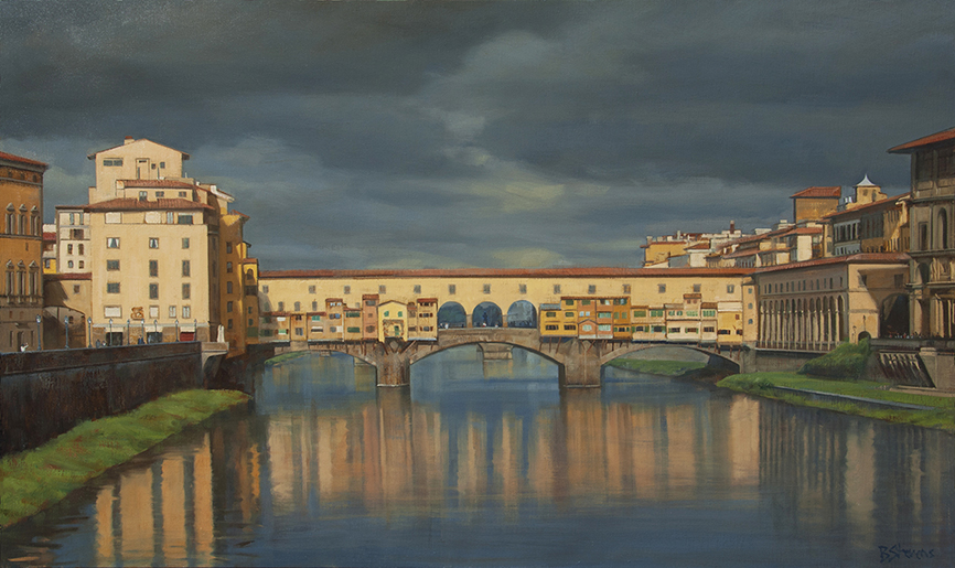 light-after-the-storm, oil painting, Italian cityscape painting, Florence painting, Ponte Vecchio, Arno River, reflections on Arno River, Tuscan landscape painting, Firenze