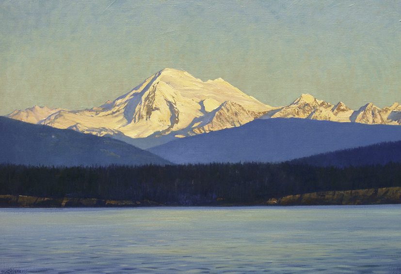 Mt-Baker, Pacific Northwest landscape painting, oil painting, Mt. Baker, Skagit Valley, view from Orcas ferry, San Juan Islands, Straits of Juan de Fuca