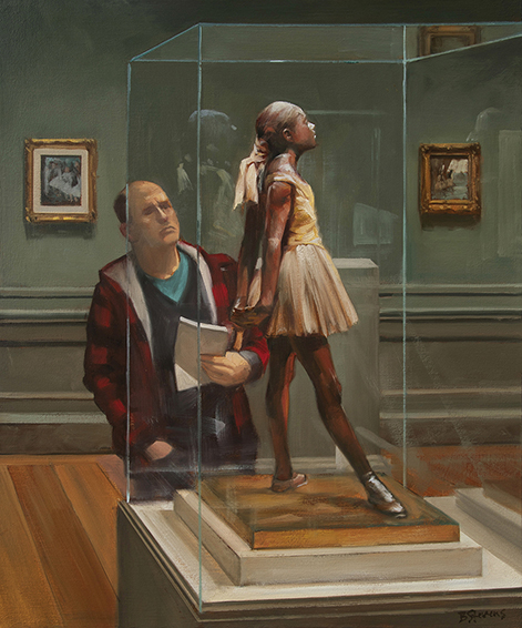 protection, interior paintings, oil painting, paintings of museum interiors, figurative painting, National Gallery interior, people looking at art, Edgar Degas, Degas sculpture, 19th French sculpture, Impressionism, The Little Dancer, The Little Dancer Aged Fourteen, American realism, contemporary realism, American realist artist
