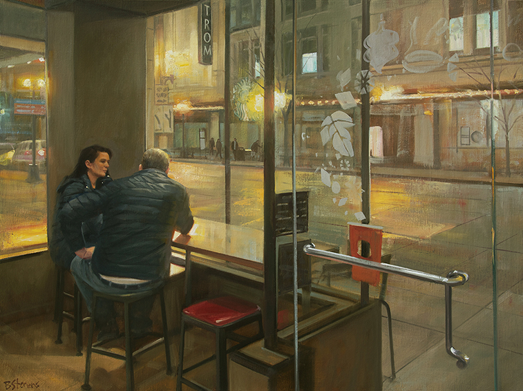 shelter from the storm, interior paintings, oil painting, cafe paintings, coffee bar, Starbucks, Nordstrom, figurative painting, Seattle, paintings of Seattle, American realism, contemporary realism, American realist painter