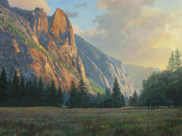 valley-sentinels, oil painting, California landscape painting, Yosemite National Park, Yosemite landscape painting, Yosemite Valley, Sentinel Rock