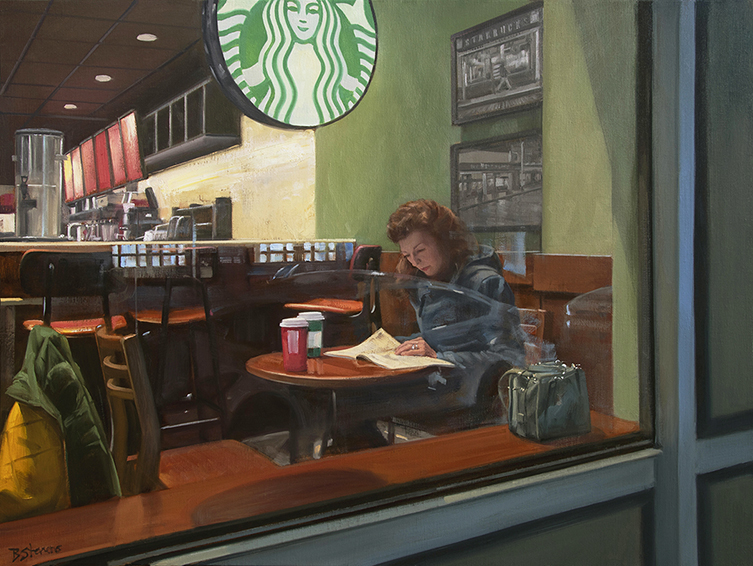 waiting, interior paintings, oil painting, cafe paintings, coffee bar, Starbucks, figurative painting, Seattle, paintings of Seattle, American realism, contemporary realism, American realist painter