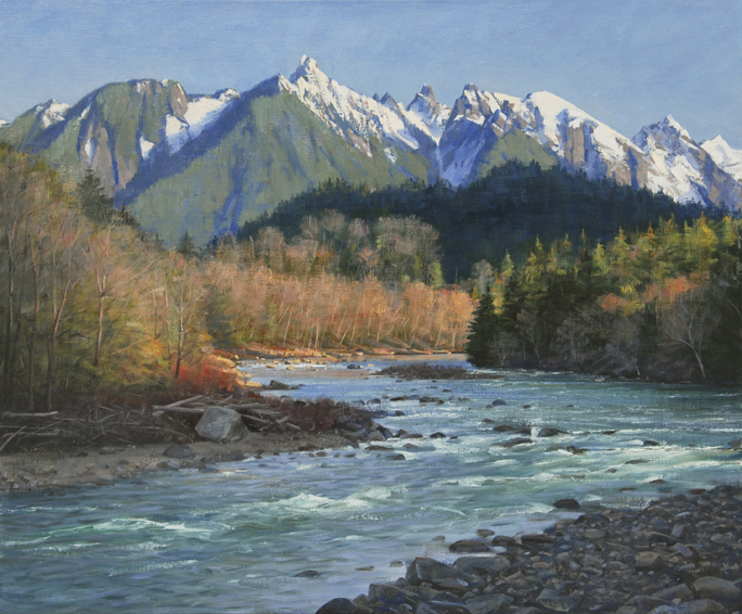 following-the-skykomish, Pacific Northwest landscape painting, Mt. Index, Skykomish River, oil painting, Western landscape, painting with mountains and river