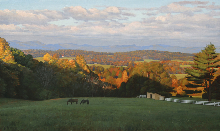 lees-ridge, oil painting, Virginia landscape painting, Virginia Piedmont, painting with rolling mountains and horses, Warrenton VA