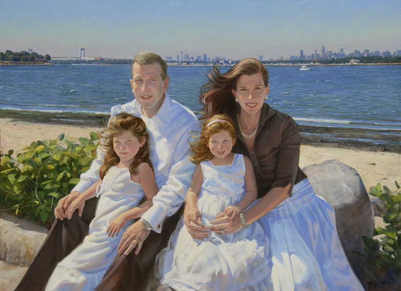 lipset-family, oil portrait, family oil portrait, informal family portrait, portrait of a family on the beach, children's portrait, Long Island beach landscape, outdoor family portrait