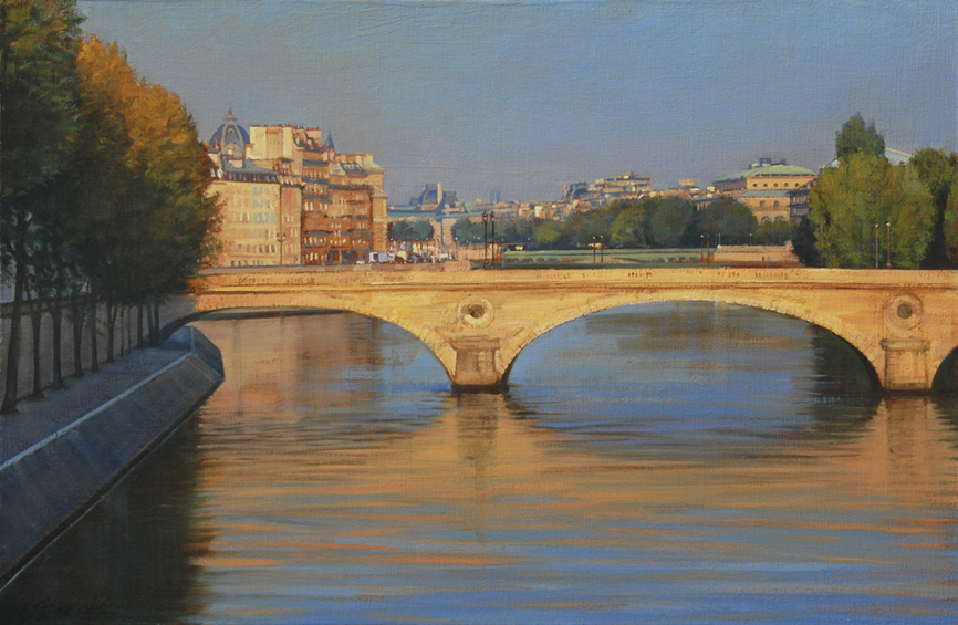 pont-louis-philippe, Paris cityscape, Seine River painting, bridges of Paris, Left Bank, Right Bank, Ile St. Louis, oil painting, French painting