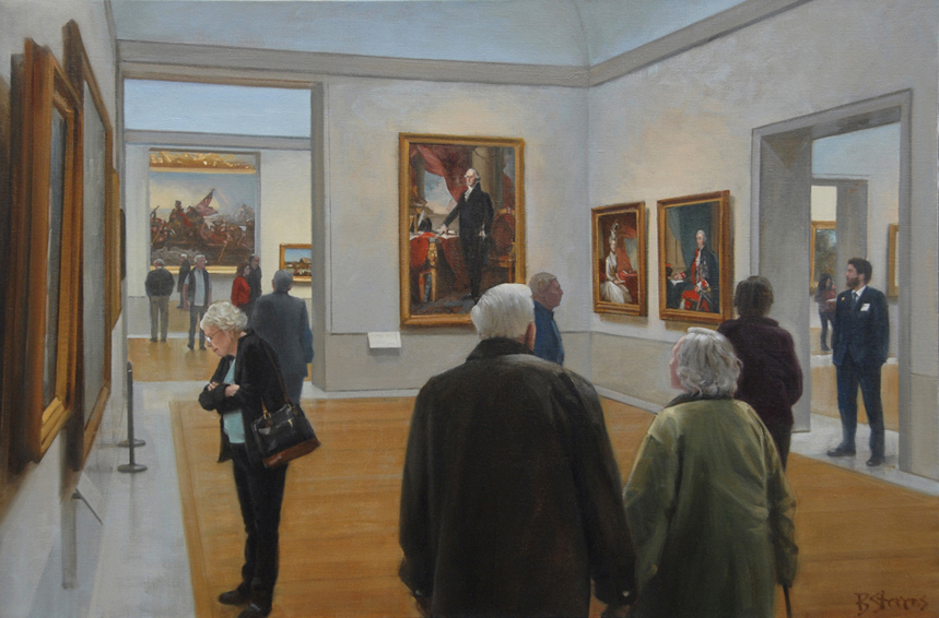 the-american-wing, museum interior painting, oil painting, painting of people in a museum, people looking at art, Metropolitan Museum of Art, New York museums