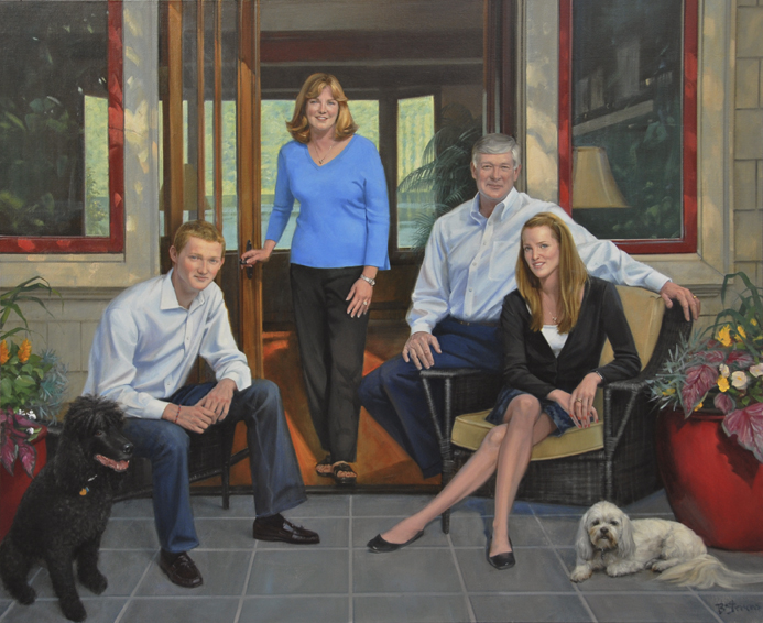 Altom-Carlson Family, family oil portrait, oil portrait painting, informal family portrait, portrait of a family on their veranda, portrait with children and a dog