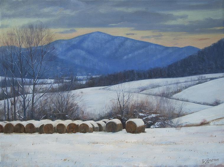 blue-ridge-snow, Virginia landscape painting, snow painting, hay bales, Virginia Piedmont, Blue Ridge mountains, Flint Hill VA, Virginia rolling hills