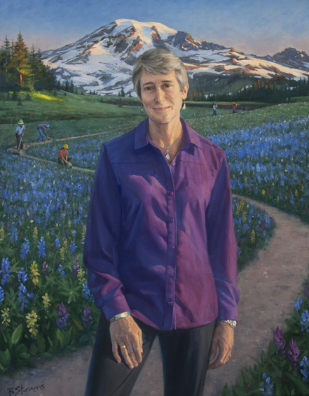 Sally Jewell, secretary of the interior, U.S. Department of Interior, Washington, DC, environmentalist, mountaineer, conservationist, CEO of REI, oil portrait, presidential cabinet portrait, cabinet secretary portrait