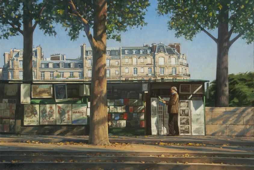 les-bouquinistes, oil painting, French cityscape, Paris street scene, painting of booksellers on the Paris quais, Seine River