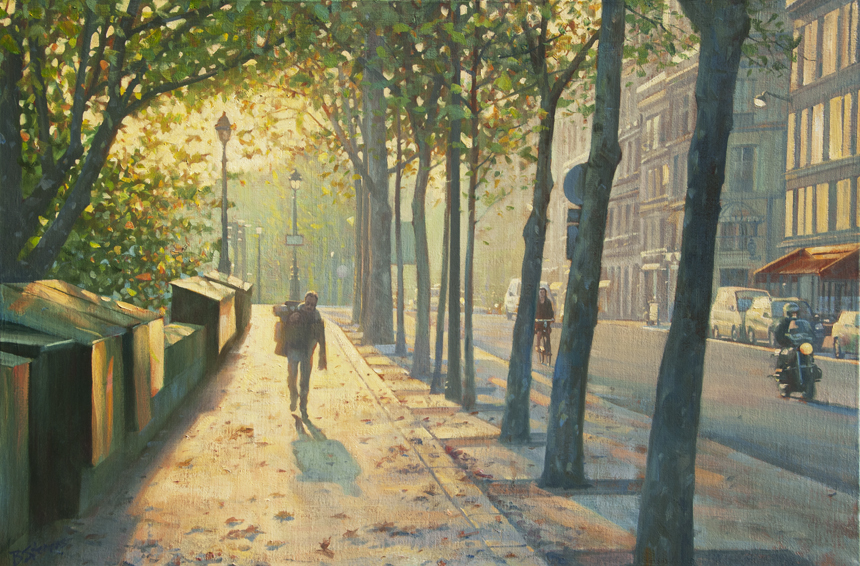 morning-along-the-quad, French cityscape, painting of Paris, Paris street scene, oil painting, quais of Paris, painting of people on the streets of Paris, Paris in autumn, Parisian streets