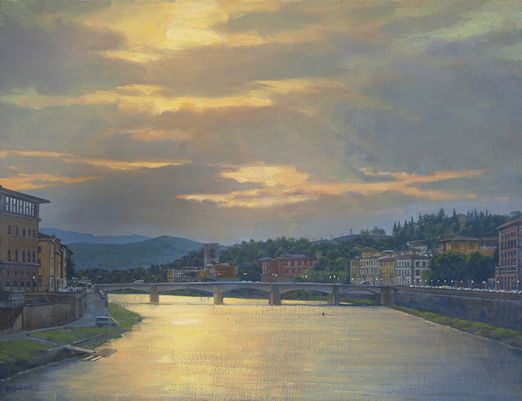 morning-on-the-argo, Italian landscape painting, oil painting, Tuscan landscape painting, Florence cityscape, Arno River painting, Firenze