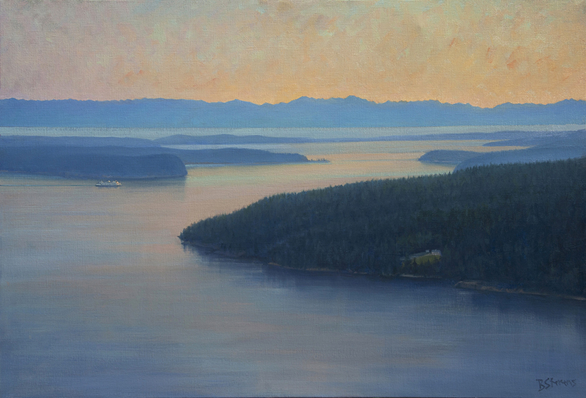 orcas-afterglow, oil painting, Pacific Northwest landscape painting, Western landscape painting, Orcas Island, Lopez Island, Washington State ferry, ferry painting, Olympic Mountains, Strait of Juan de Fuca, San Juan Islands