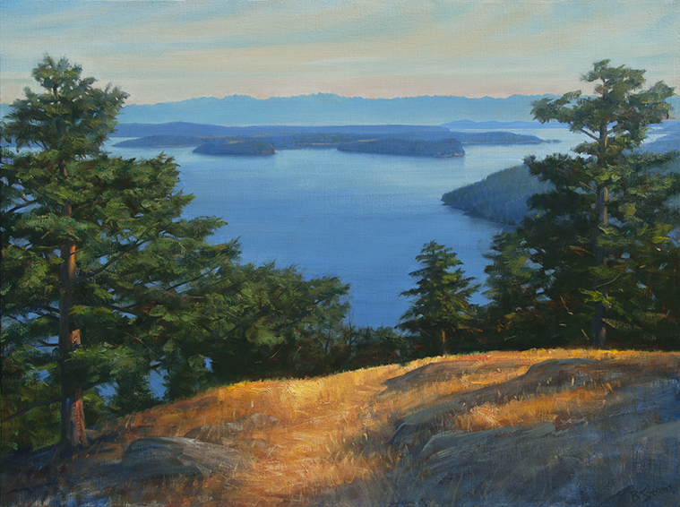 orcas-overlook, oil painting, Pacific Northwest landscape painting, Olympic Mountains, Lopez Island, Orcas Island, Straits of Juan de Fuca, Western landscape painting