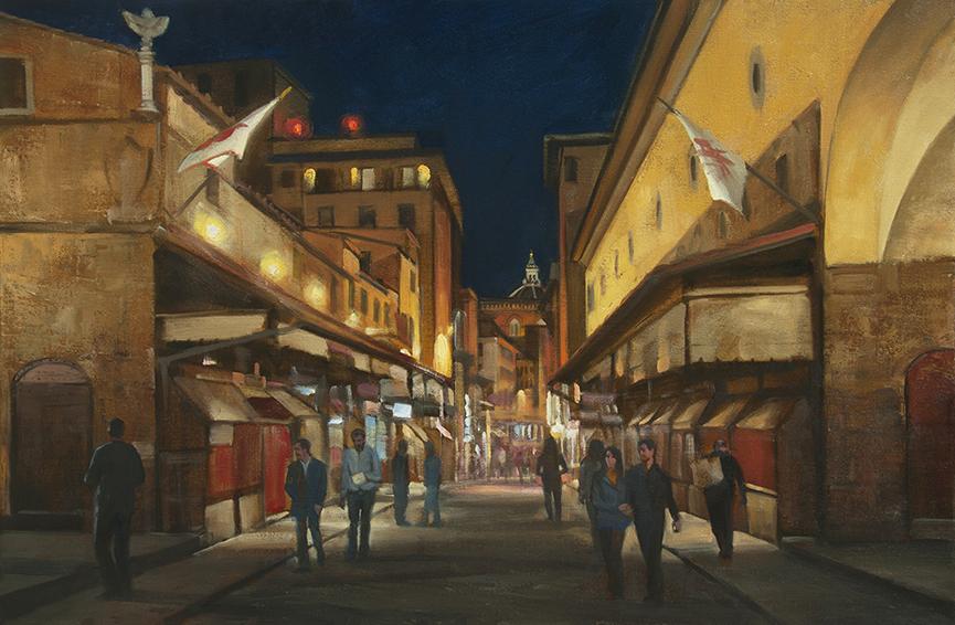 ponte-vecchio-night, oil painting, Florence cityscape painting, Florence at night, shopping on the Ponte Vecchio, painting of people walking the Ponte Vecchio at night