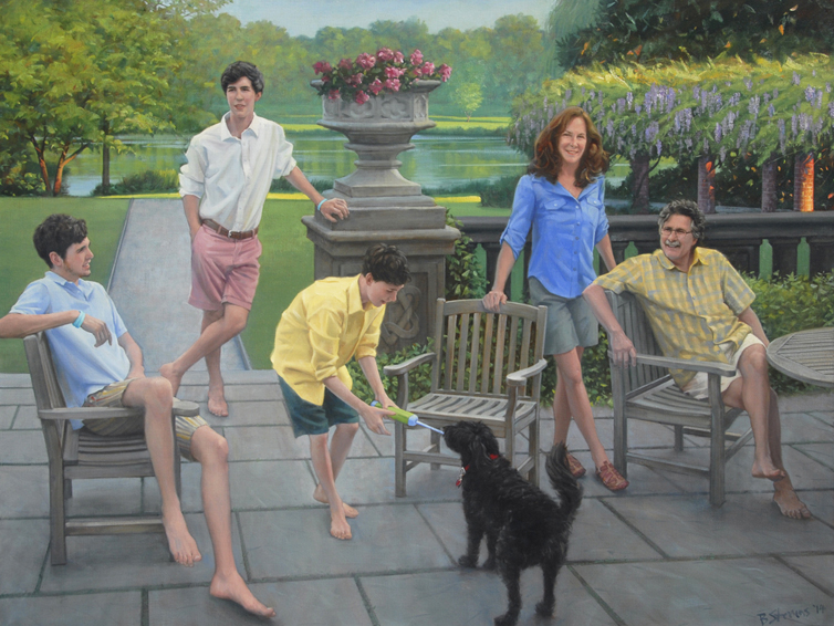 rodriguez-family, family portrait, oil portrait, informal family portrait, children's portrait, outdoor portrait, portrait of a family at home, portrait with children and a dog, contemporary portrait
