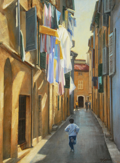 time-to-play, French village painting, French Provencal painting, villages of Provence, children playing in a French village, oil painting,