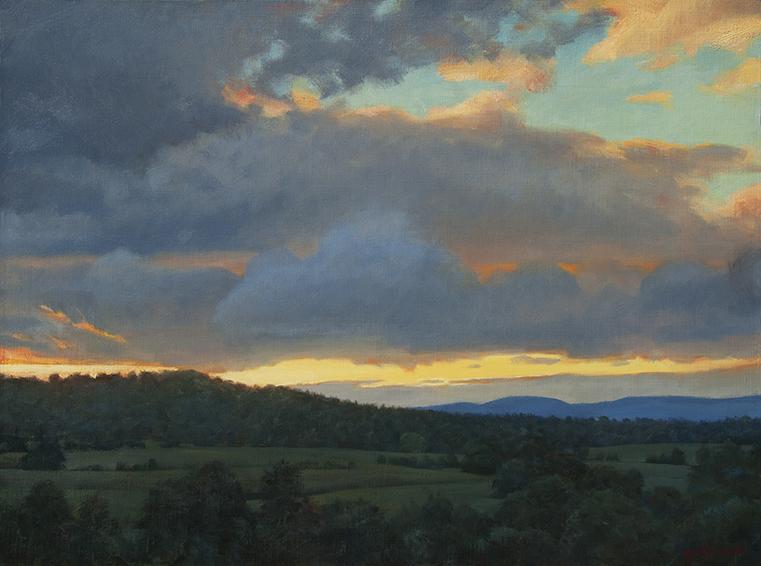virginia-sky, Virginia landscape painting, oil painting, landscape painting, dramatic sky painting, Virginia Piedmont