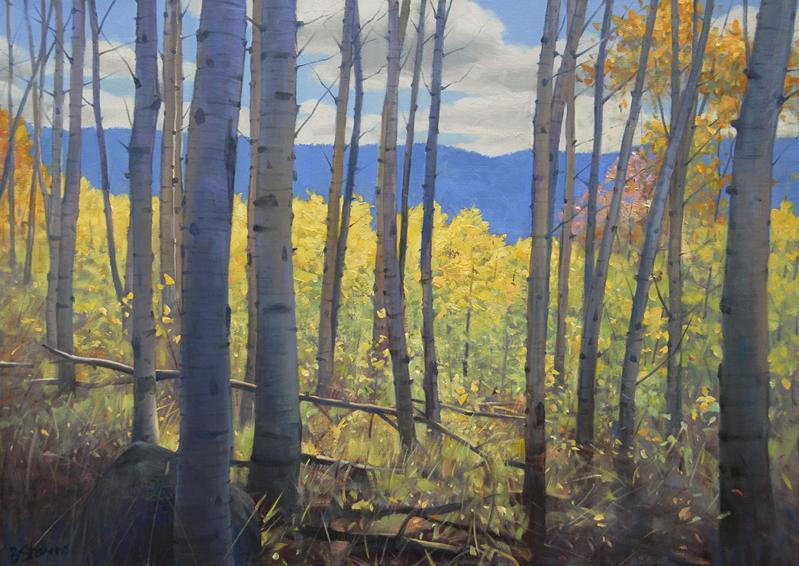 aspen-grove, oil painting, Western landscape painting, Wyoming landscape, painting of aspen trees, autumn landscape with aspens