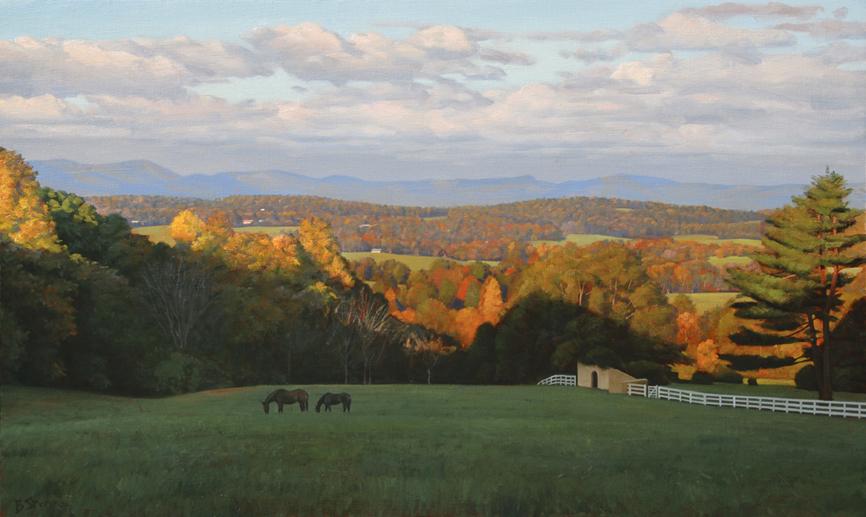 lees-ridge, oil painting, Virginia landscape painting, Virginia Piedmont, painting with rolling mountains and horses, Warrenton VA
