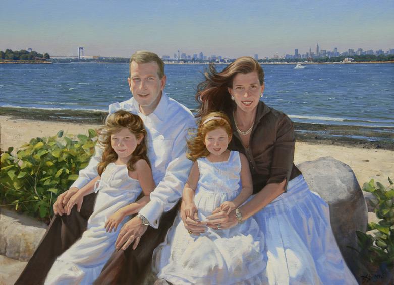 lipset-family, oil portrait, family oil portrait, informal family portrait, portrait of a family on the beach, children's portrait, Long Island beach landscape, outdoor family portrait