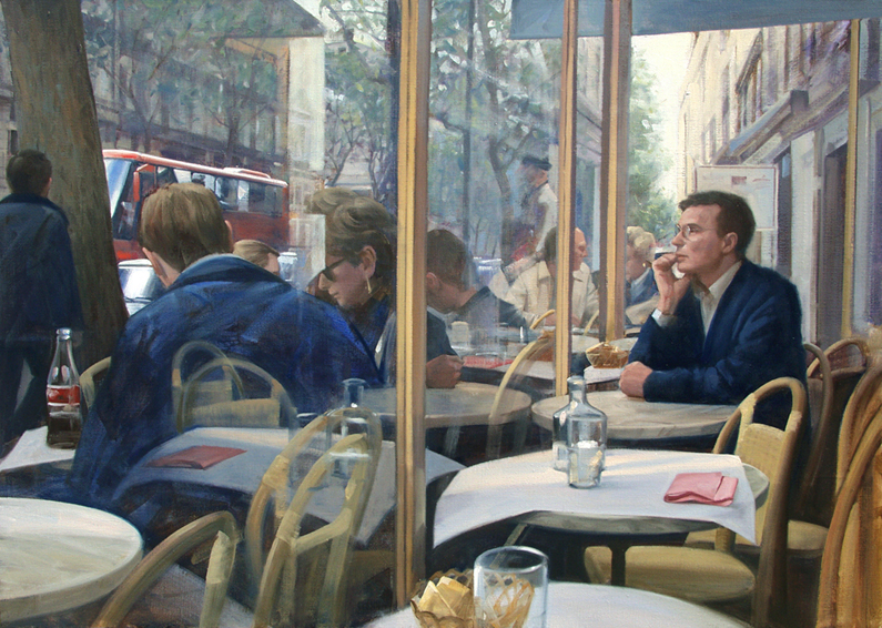 looking out, oil painting, French cityscape, Paris cityscape painting, people in a French cafe, Paris street scene, Cafe Flor