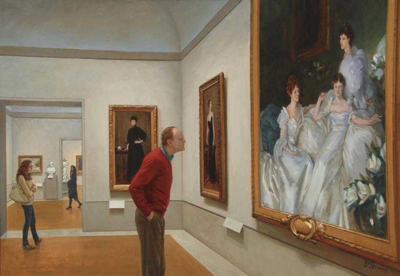 seeking-argent, museum interior painting, oil painting, painting of people in a museum, people looking at art, Metropolitan Museum of Art, New York museums