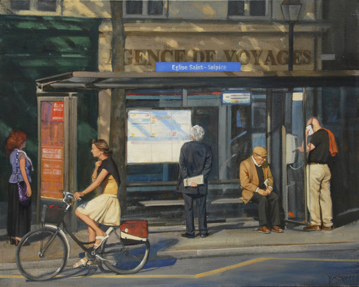 waiting-for-the-63, oil painting, French cityscape, Paris street scene, painting of people waiting at a bus stop in Paris, Paris bus no. 63