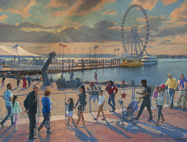 E-pluribus-unum, National Harbor, Maryland, contemporary realism, Potomac river, figure painting, waterfront.