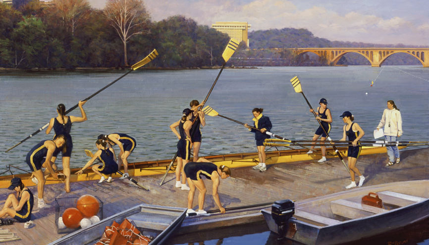 before the race, cityscape painting, oil painting, figurative painting, crew painting, GW women's crew team, Potomac River rowing scene, Washington DC city scene