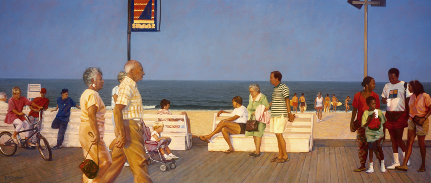 boardwalk evening, figurative painting, oil painting, Bethany Beach boardwalk