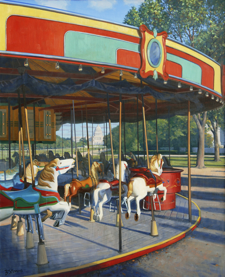 carousel, cityscapes painting, oil painting, Washington DC cityscape, Smithsonian carousel, The Mall