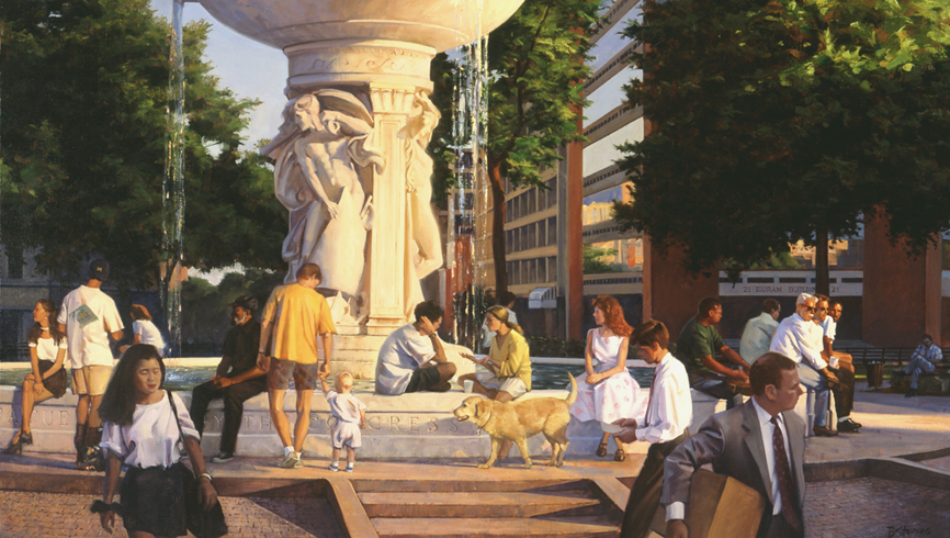 dupont circle congregation, cityscape painting, oil painting, Washington DC scene, Dupont Circle fountain, Dupont Circle Park