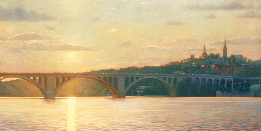 key bridge evening, cityscape painting, oil painting, Washington DC cityscape, Potomac River, Key Bridge at sunset