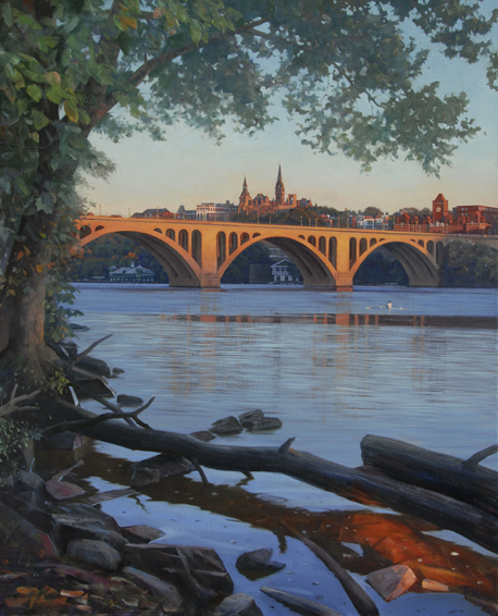 key bridge sunrise, cityscape painting, oil painting, Potomac River scene, Key Bridge, Georgetown University