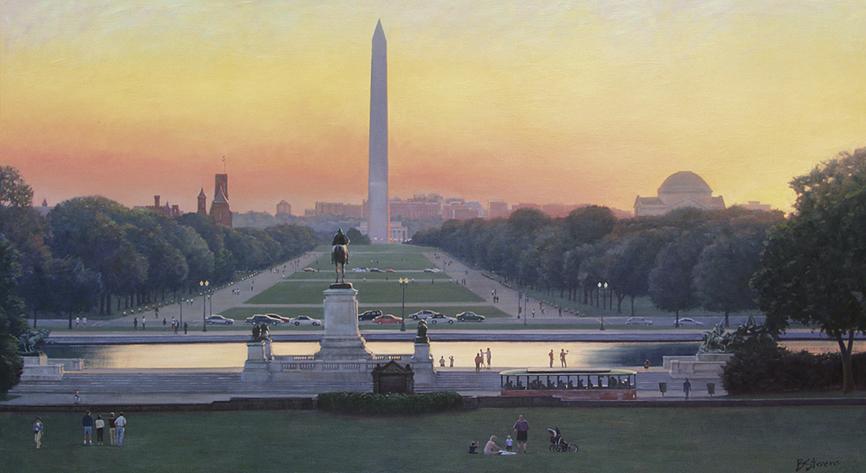 monument twilight, cityscape painting, oil painting, Washington Monument, Washington DC memorial view,  Washington DC monument painting, The Mall, figurative painting