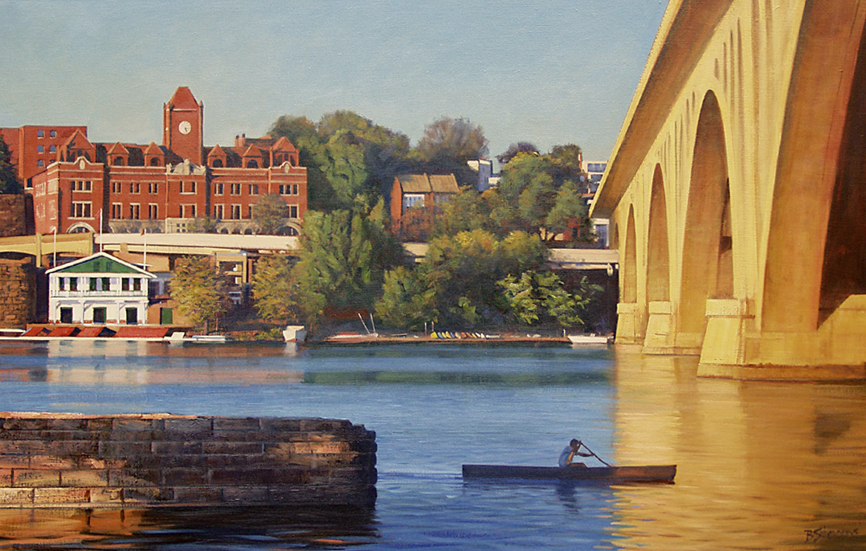 river's edge, cityscape painting, oil painting, Potomac River scene, rowing on Potomac River scene, Key Bridge
