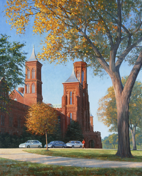 smithsonian, cityscape painting, oil painting, Washington DC cityscape, Smithsonian Castle