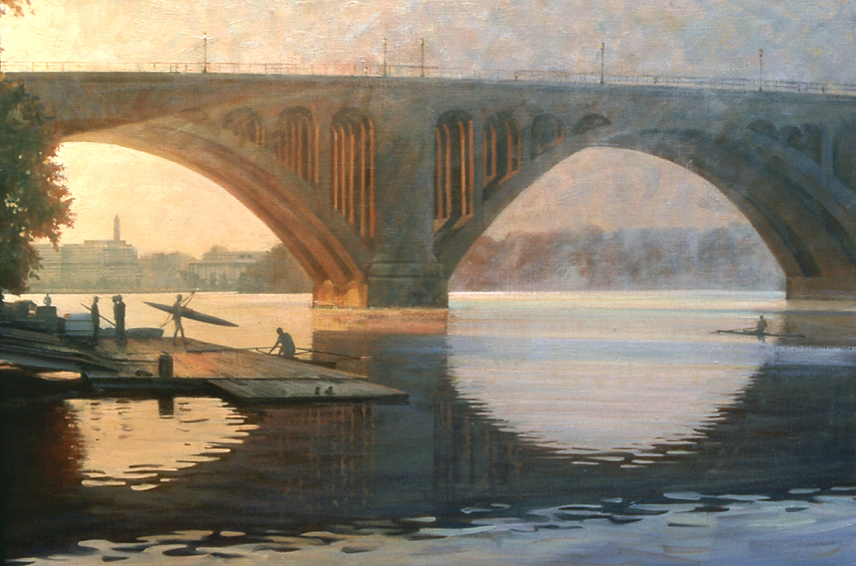sunrise under the key bridge, cityscape painting, oil painting, Washington DC scene, Potomac River scene, Potomac River boathouse, rowers on Potomac River, figurative painting