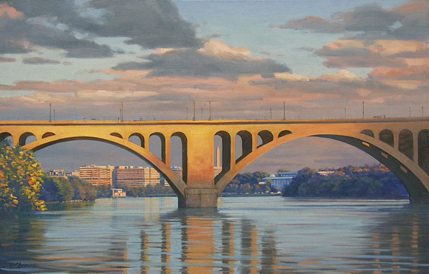 the bridge between, cityscape painting, oil painting