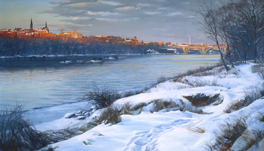 winters path, cityscape painting, oil painting, Potomac River scene, Georgetown University
