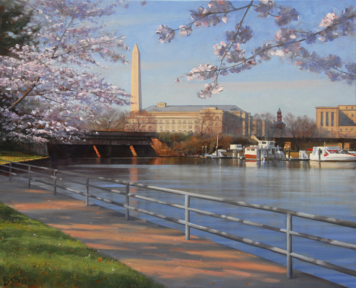 channel blossoms, cityscape painting, oil painting, Washington DC Tidal Basin, cherry blossoms