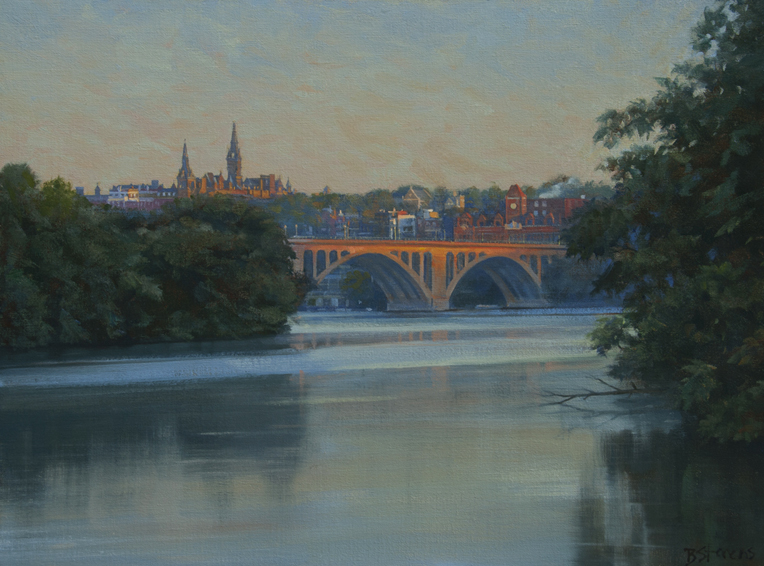 georgetown sunrise, cityscape painting, oil painting, Washington DC cityscape, Potomac River scene, Key Bridge, Georgetown University