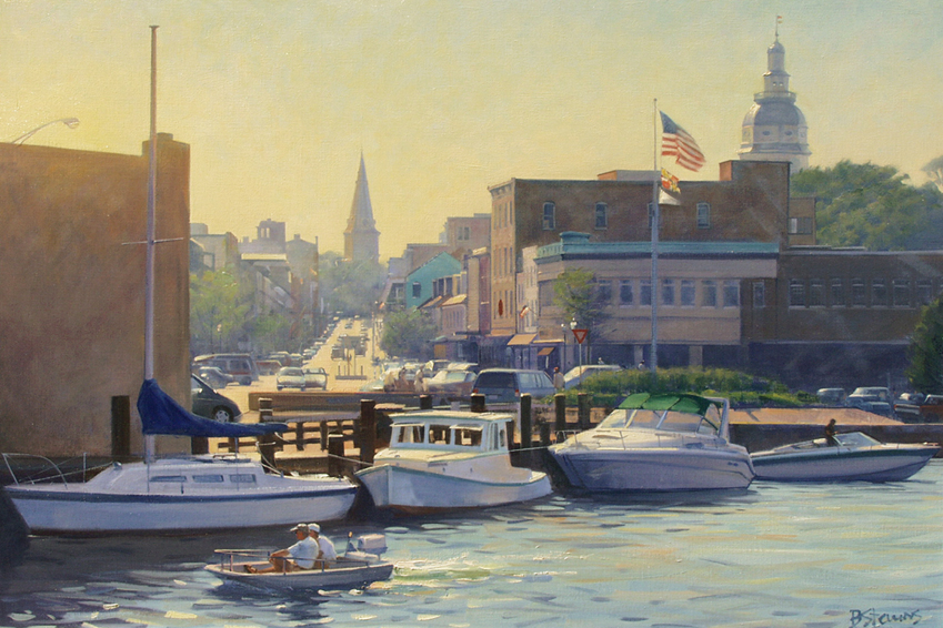 annapolis afternoon, cityscape painting, oil painting, Annapolis harbor scene, boats in Annapolis harbor